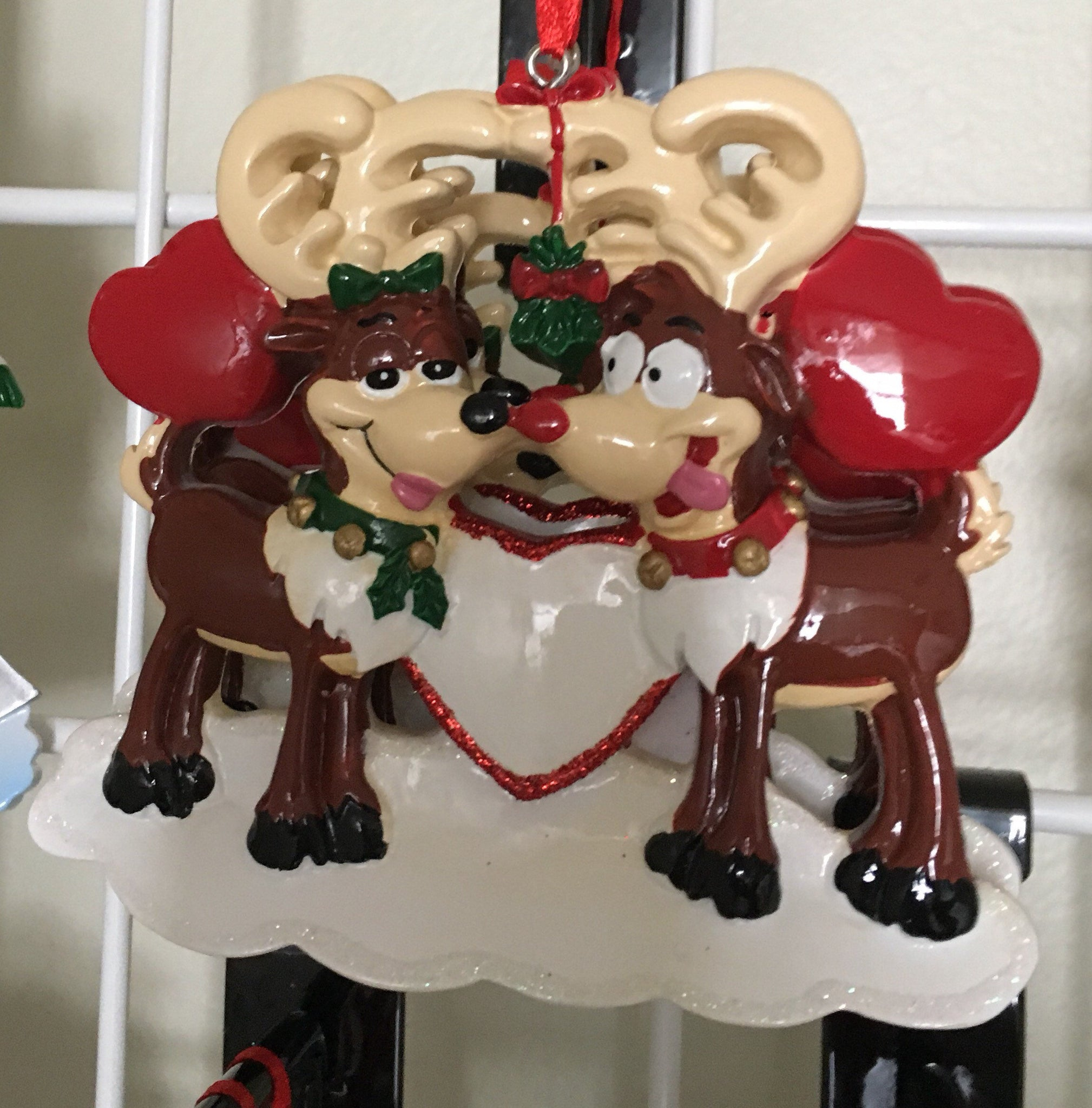 Reindeer Love Personalized Couple Christmas Ornament