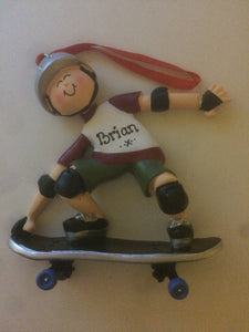Skateboarder Personalized Christmas Ornament