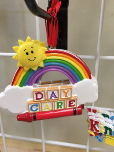 Day Care Blocks with Rainbow and Crayon-Personalized Ornament // Thank You Gift
