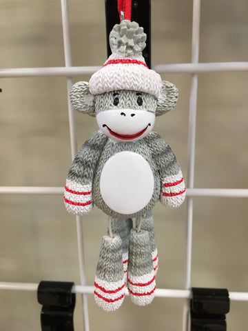 Monkey with Dangle Legs Personalized Christmas Ornament