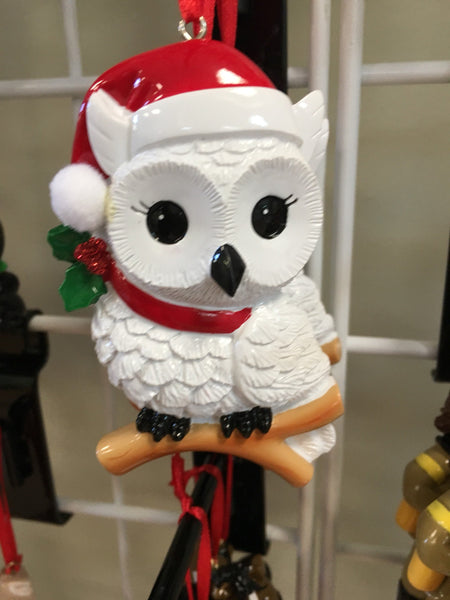 White Snowy Owl Personalized Christmas Ornament