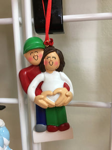Expecting Couple-Belly Heart Personalized Christmas Ornament