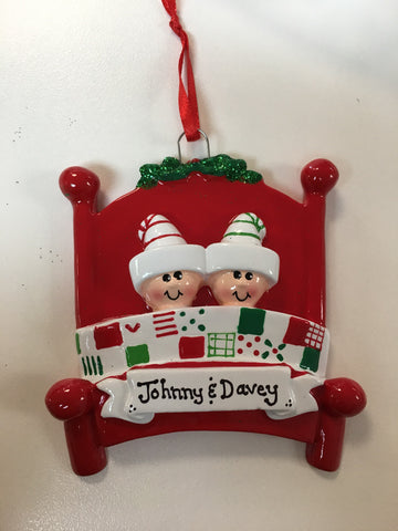 Bed Heads Couple  //  Family Personalized Christmas Ornament