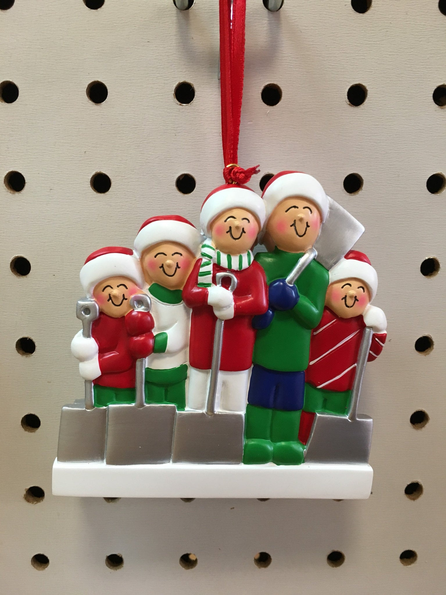 Snow shoveling Couple / Family Personalized Christmas Ornament