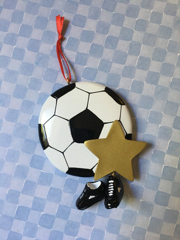 Soccer Ball with Shoes and Star Personalized Soccer Ornament