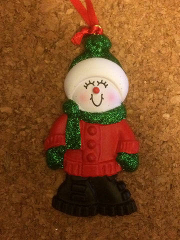 Snowperson Personalized Christmas Ornament