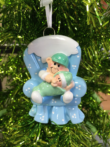 Big Brother // blue chair // Personalized Christmas Ornament