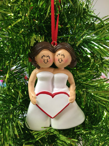 Bride with Bride // Bridesmaid Personalized Christmas Ornaments