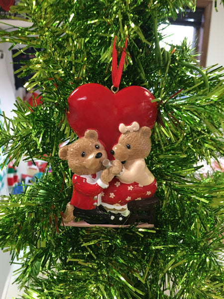 Marry Me Bear Couple Personalized Engagement Ornament