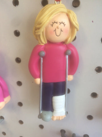 Broken Leg in Cast- Crutches Personalized Christmas Ornament