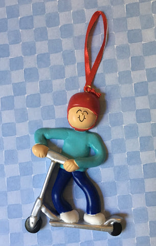 Riding Scooter Personalized Christmas Ornament