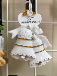 50th Anniversary Wedding Bells /Personalized Christmas Ornament