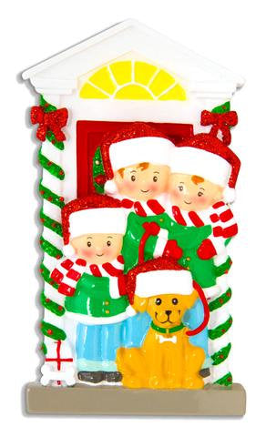 Family with Dog Personalized Christmas Ornament