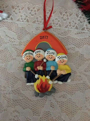 Camp Fire with Tent Family Personalized Christmas Ornament
