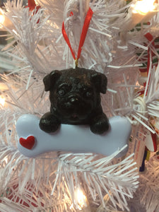 Pug Dog Bone Ornament