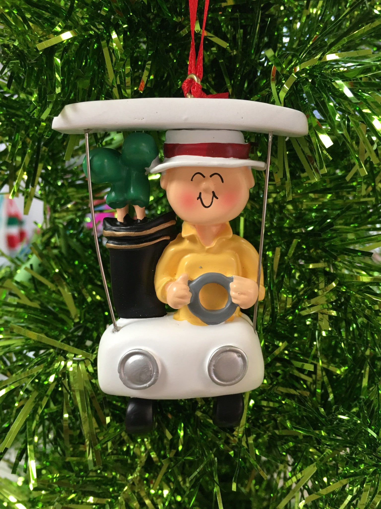 Golf Cart- Golf Man Personalized Christmas Ornament