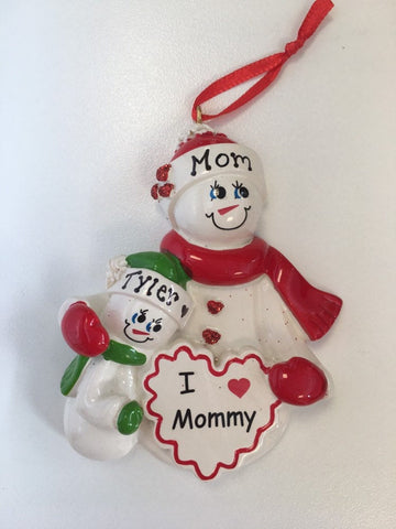 I love MommyPersonalized Single Parent Christmas Ornament