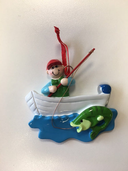 Fisherman in Boat Personalized Christmas Ornament