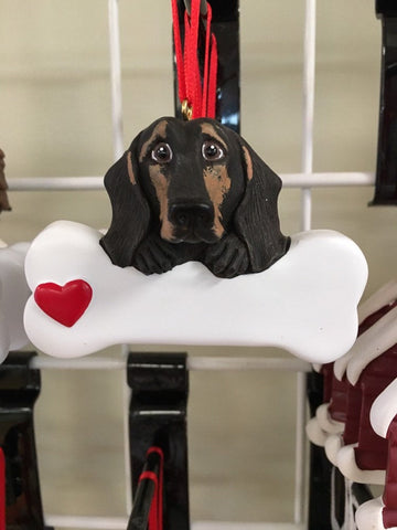 Dachshund Black Personalized Dog Bone Ornament