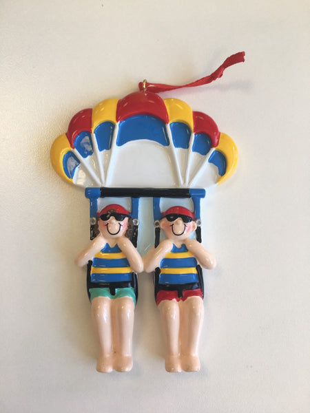Parasailing Couple Personalized Christmas Ornament