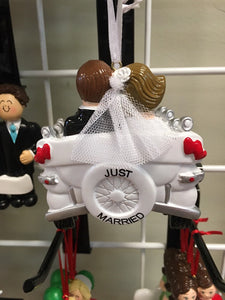 Just Married Vintage Car Couple Personalized Wedding Ornament