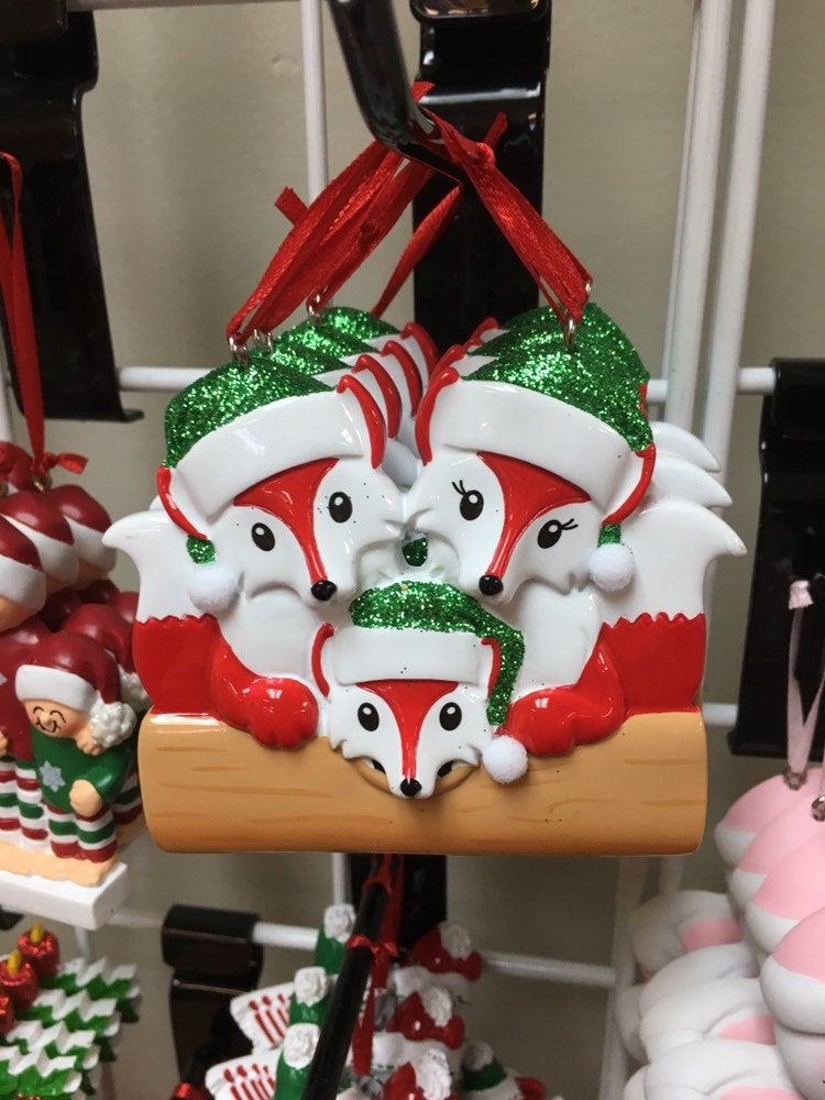 Red Fox Couple // Family Personalized Christmas Ornament