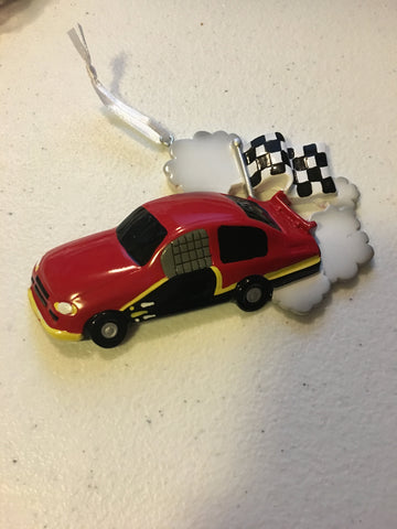 Race Car with Checker Flag Personalized Ornament