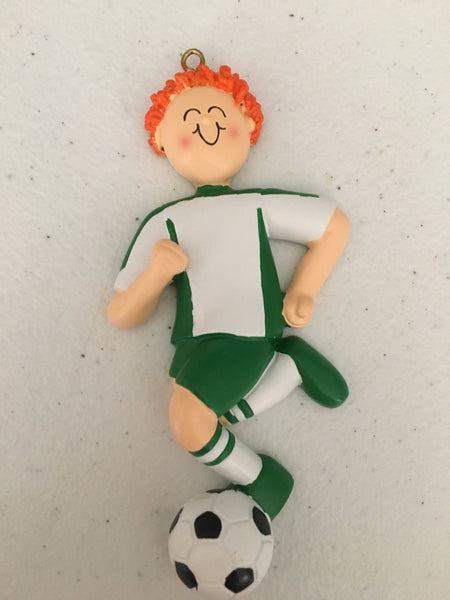 Soccer Player with Green Uniform // Personalized Christmas Ornament
