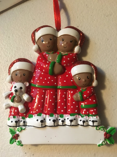 Matching Christmas Pajama Family Ethnic Personalized Christmas Ornament