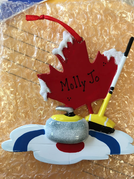 Curling Sports Personalized Christmas Ornament
