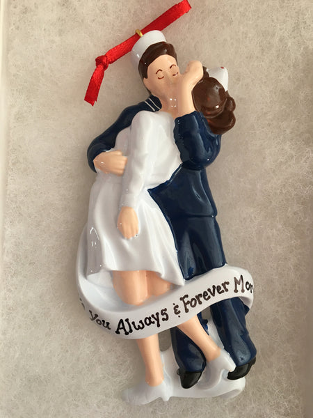 Sailor's Kiss Personalized Couple's Christmas Ornament