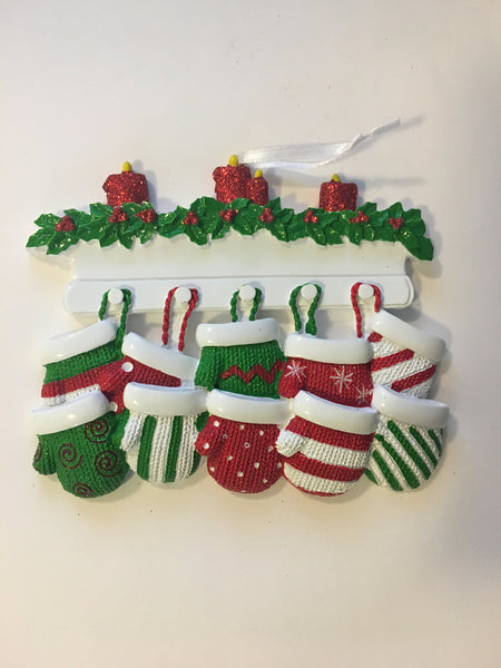 Red and Green Mitten Family Personalized Chirstmas Ornament
