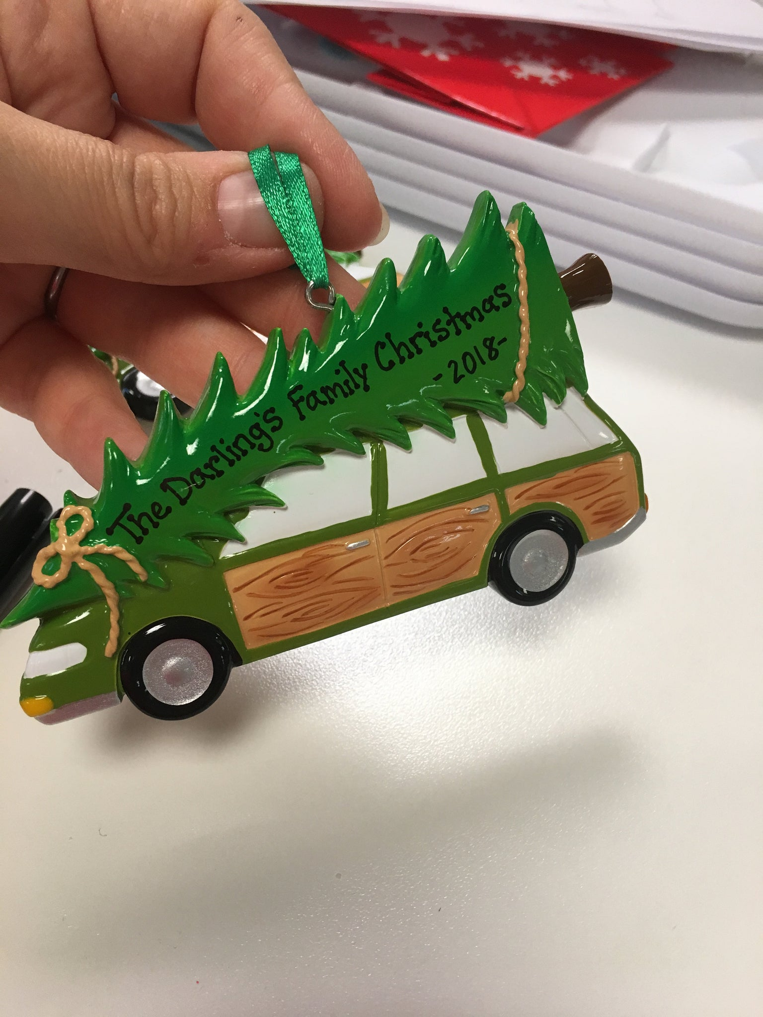 Station Wagon with Tree Personalized Christmas Ornament