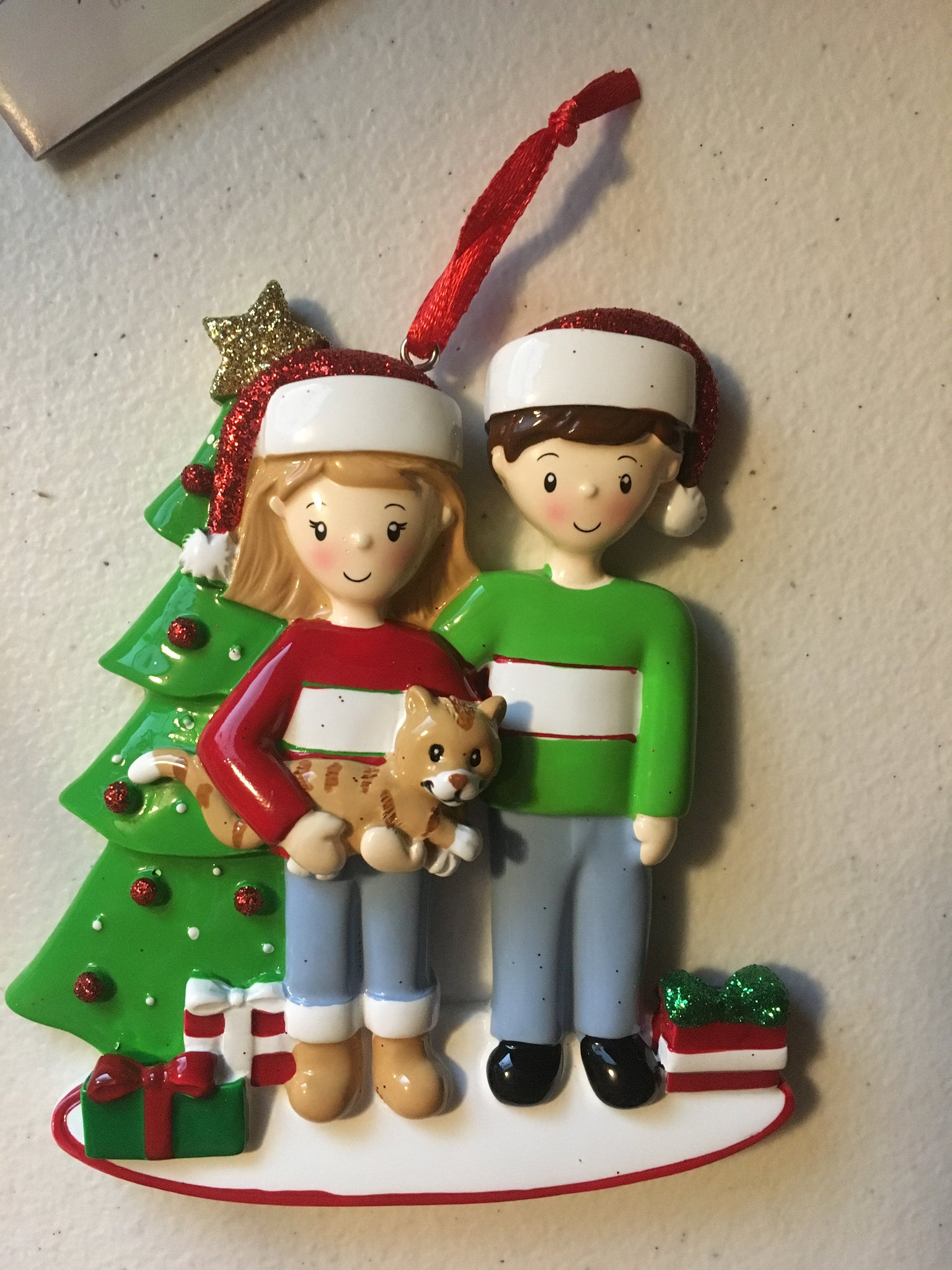 Couple with Cat Personalized Christmas Ornament