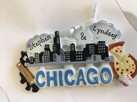 Chicago Personalized Travel Christmas Ornament