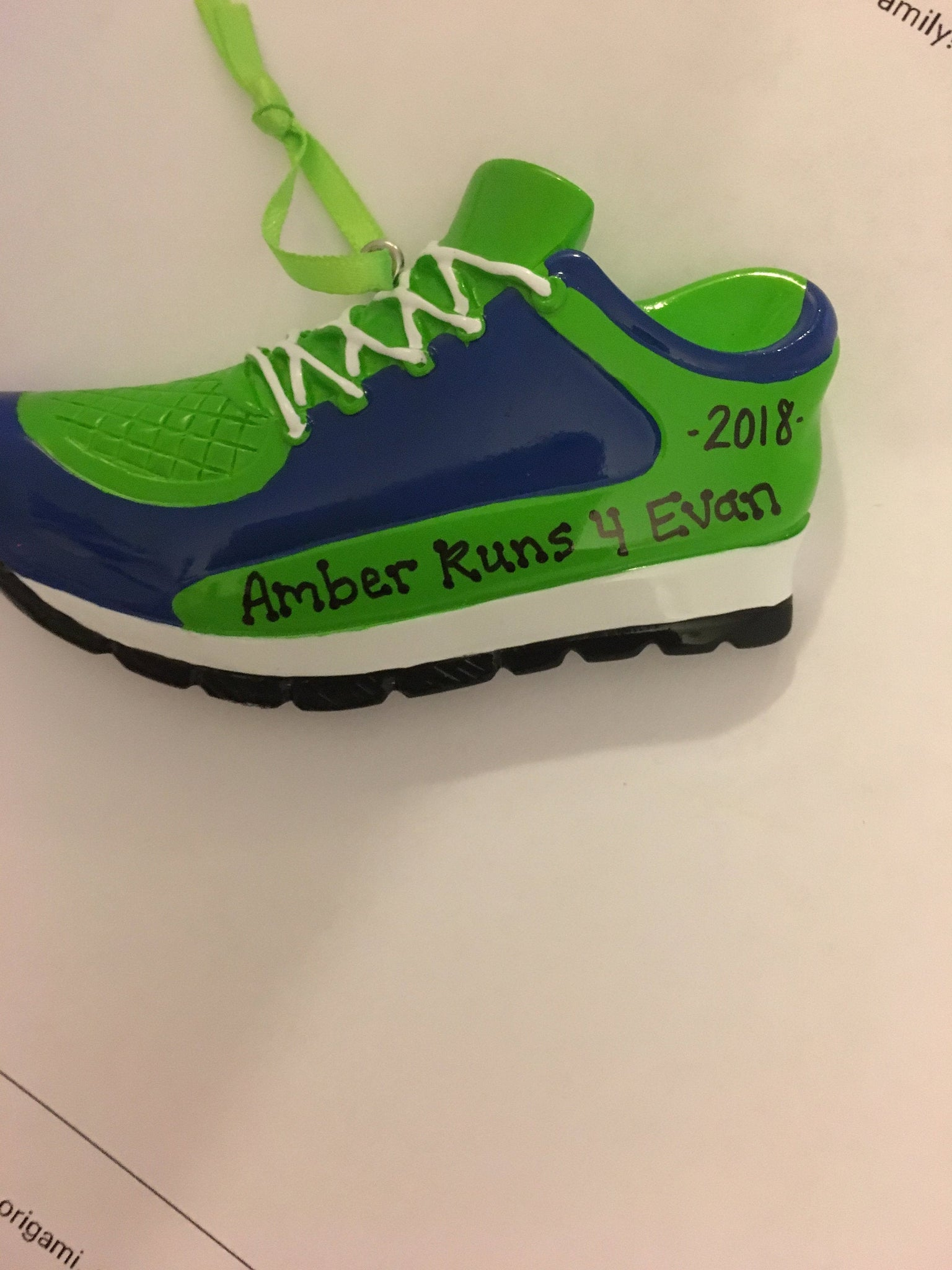 Track Sneakers Pink / Green Personalized Christmas Ornament