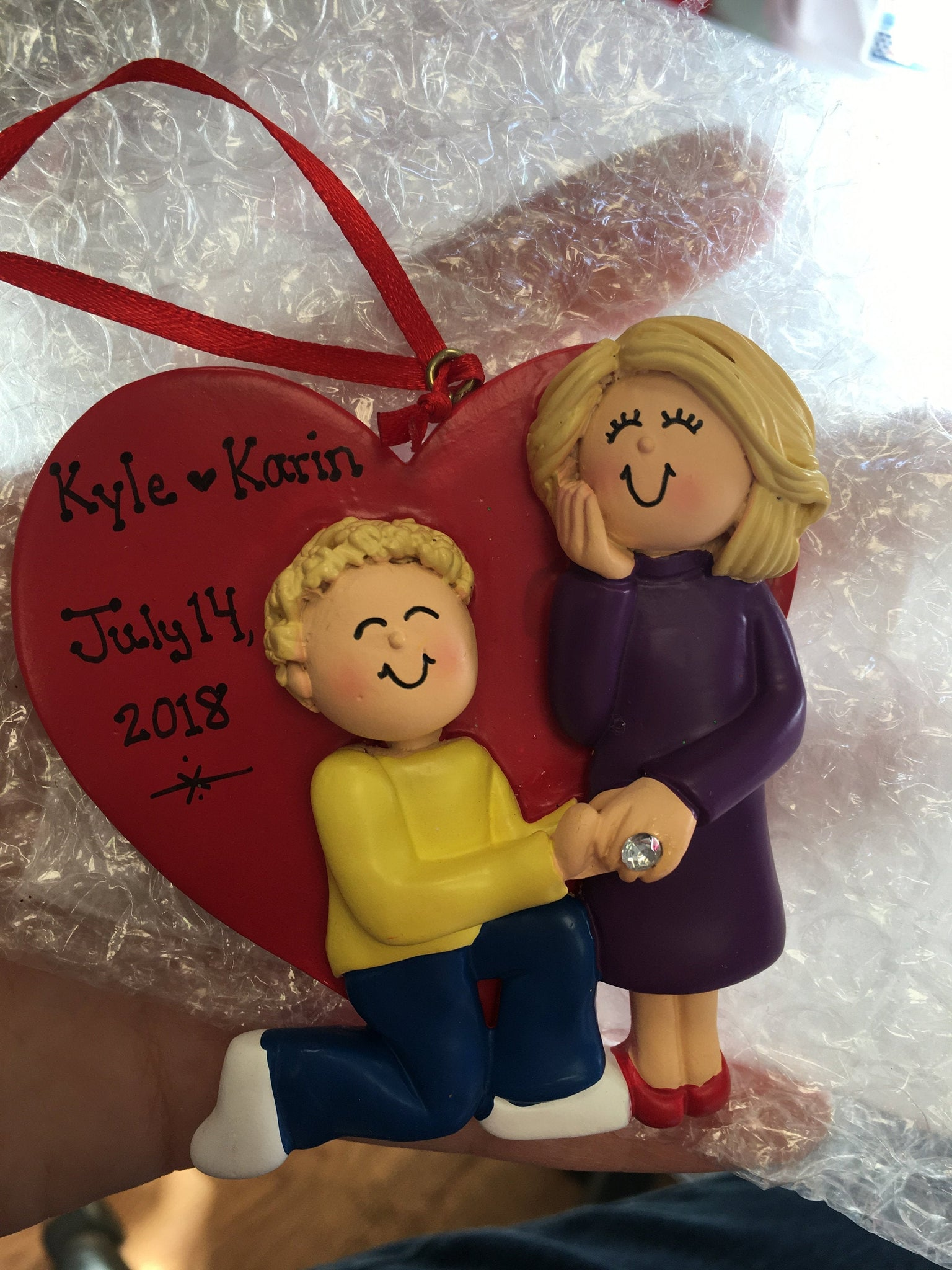 Engagement Heart Personalized Christmas Ornament