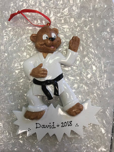 Karate Bear Personalized Karate Christmas Ornament