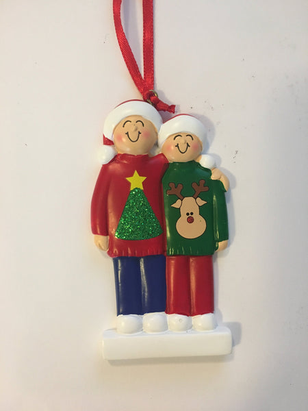 Ugly Sweater Couple // Family  Personalized Christmas Ornament