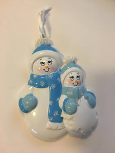 Single Parent Personalized Snowman Family Ornament
