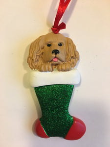 Tan Spaniel Dog in a Christmas Stocking Personalized Christmas Ornament