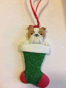 Bull Dog in a Christmas Stocking Personalized Christmas Ornament