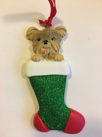 Yorkshire Doggy In Christmas Stocking Personalized Christmas Ornament