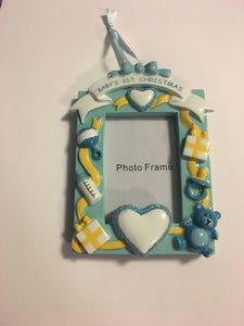 Baby's First Christmas Picture Frame Personalized Ornament