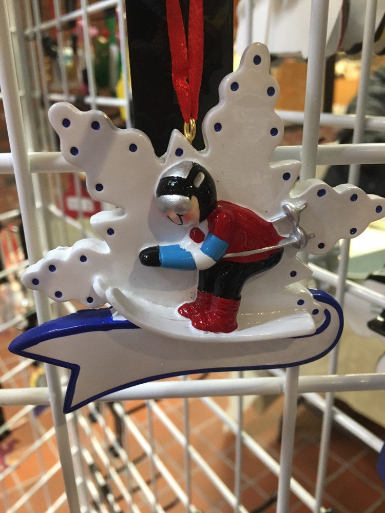 Skiing Personalize Christmas Ornament