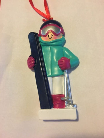 Skier Personalized Ornament