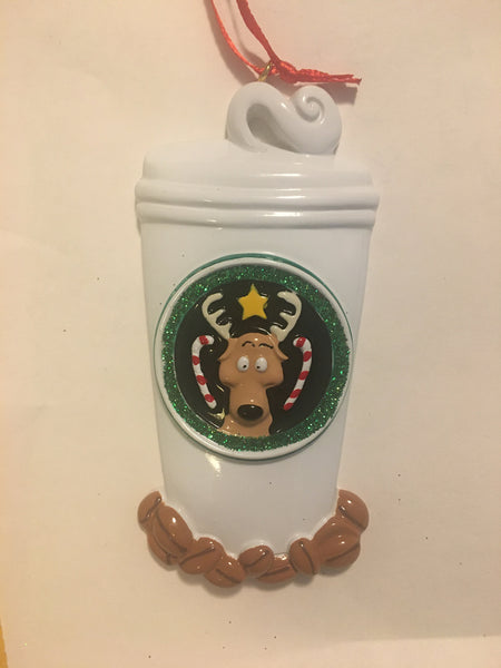 Star Buck and Candy Cane Coffee Mug with Coffee Beans Personalized Ornament