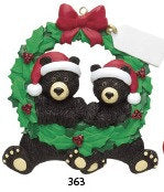 Black Bear Couple Personalized Wreath Ornament