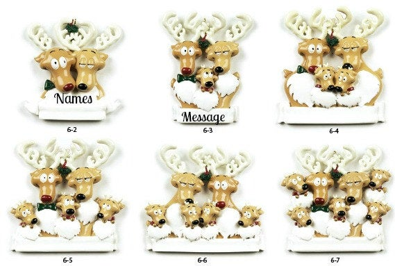 Reindeer Couple // Family Personalized Christmas Ornament