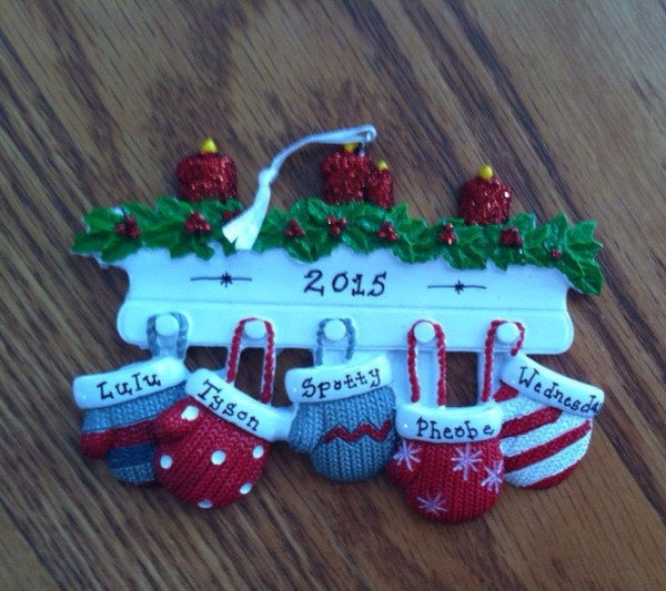 Hanging Mittens Holiday Mantle Family Personalized Ornament